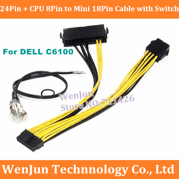 ATX 24pin CPU 8pin to Mini 18pin Power Adapter Cable for Dell C6100 Motherboard