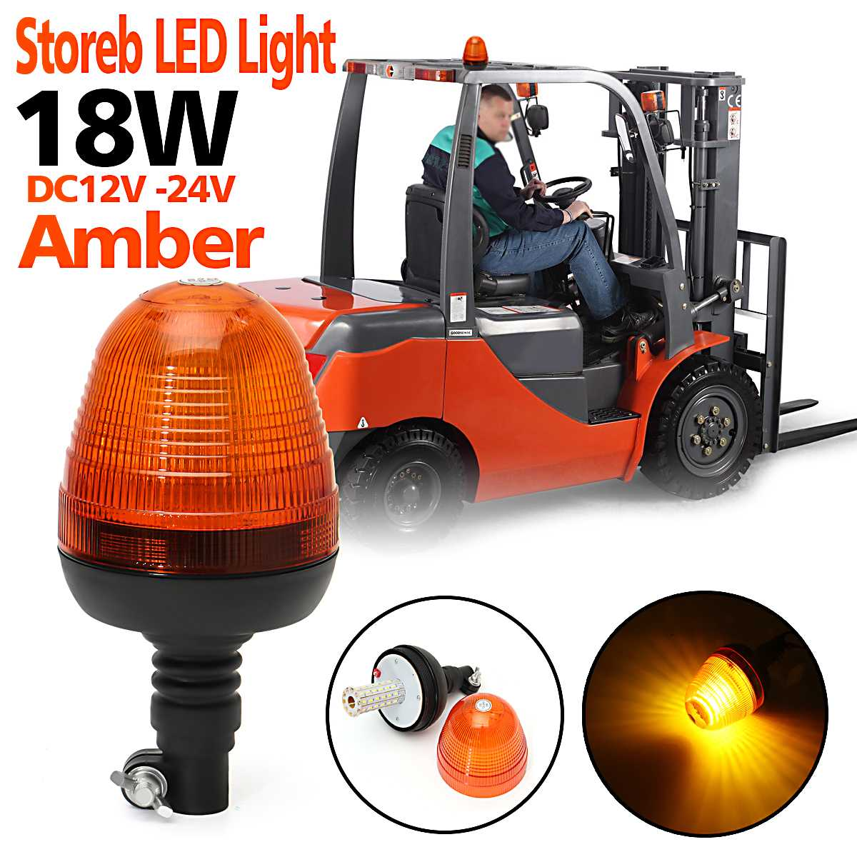 Safurance DC 12V-24V 18W Amber Forklift Car Emergency Warning Strobe Rotating LED Light Outdoor LED Strobe Flashing Alarm Lamp