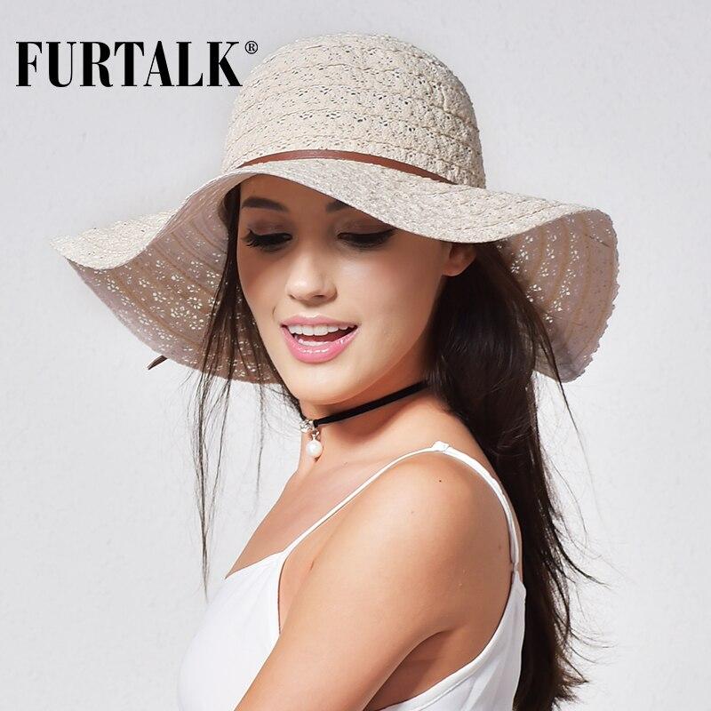 FURTALK Cappelli Estivi per Le Donne Fashion Design Donne Spiaggia Cappello  Da Sole Pieghevole Cappello di Paglia A Tesa - a.martinac.me 5866e32eb256