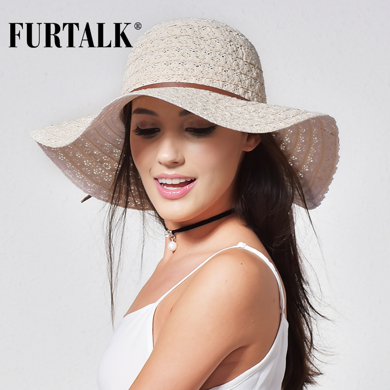 FURTALK Summer Hat For Women Beach Sun Hats Foldable Wide Brimmed Straw Hat Cotton Floppy Travel Packable UV Hat Chapeu Feminino