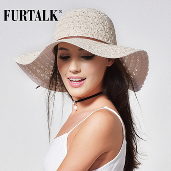 FURTALK Summer Hat for Women Beach Sun Hats Foldable Wide Brimmed Straw Cotton Floppy Travel Packable UV chapeu feminino - discount item  56% OFF Hats & Caps