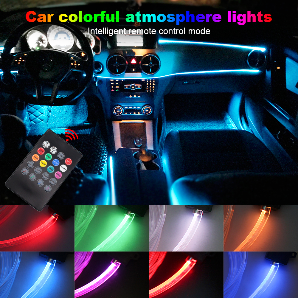 Atmosphere Lamp Light 8 colors For Car Interior Ambient Light 1 W LED For Optical Fiber Bright