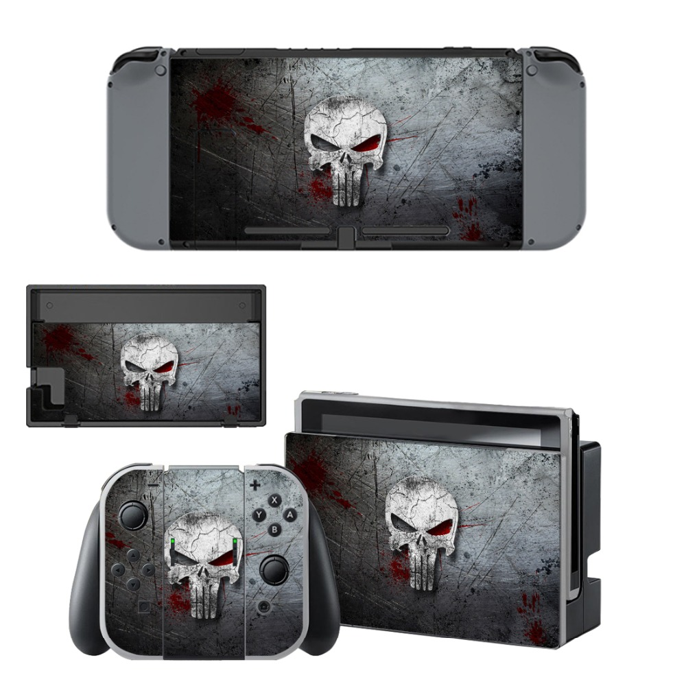 US $7 89 21% OFF|The Punisher Ghost Decal Vinyl Skin Protector Sticker for  Nintendo Switch NS Console + Controller + Stand Holder Protective Film-in