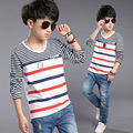 Kids Autumn Clothes Casual High Quality Children Boys T Shirt Teenager Clothing Long Sleeve Patchwork Striped Children's T-shirt