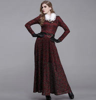 2013 New Autumn And Winter Long Sleeved Lace Dress Jacquard Plus Velvet Round Neck Empire Print