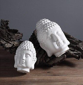 TNUKK  Chinese Style, Buddha Statue, Buddha Head Ornament, Ceramic Figurine, Simple Home Fengshui Decor, 2 Size Optional