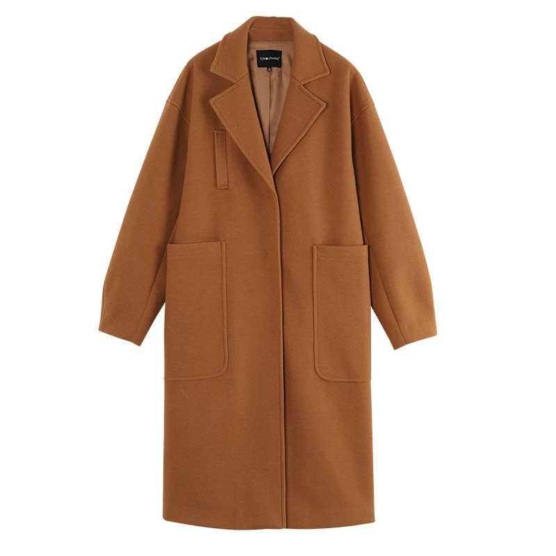 Toyouth Wol Musim Dingin Jaket Wanita Tebal Hangat Panjang Kasual Mantel Abrigo Mujer Saku Baru Mantel Wol Wanita Elegan Mantel