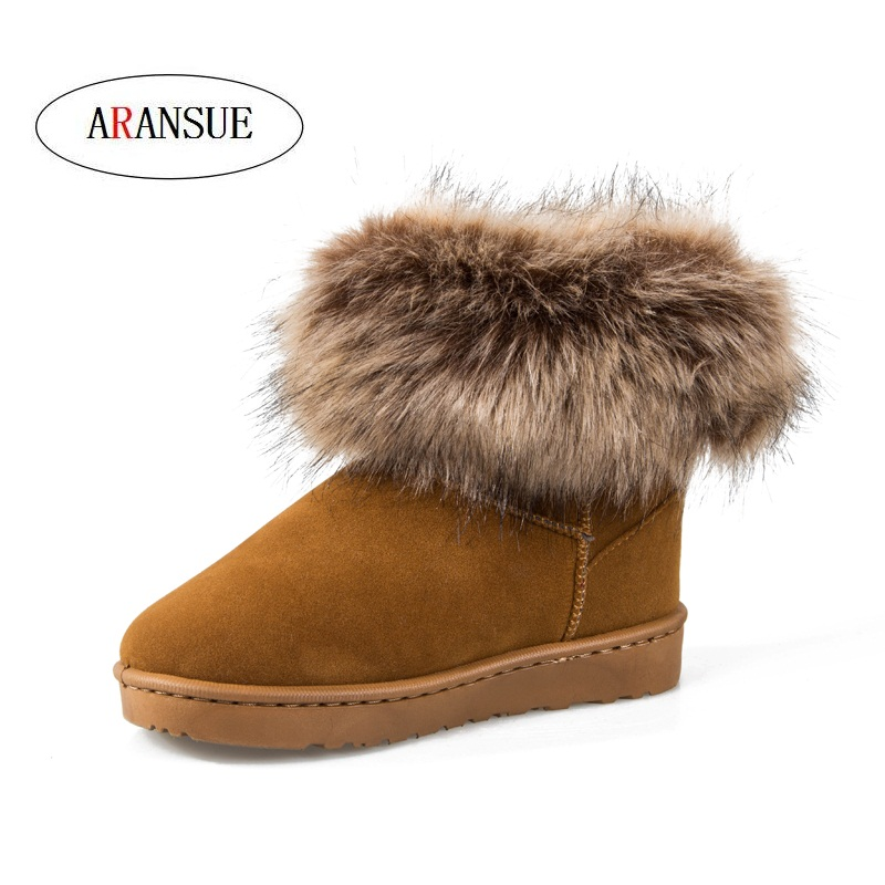 ARANSUE Autumn Winter Classic snow boots Cotton shoe with velvet and warmth protection Cashmere Accessories Bare boots