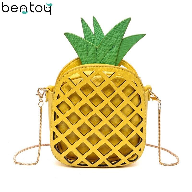 Bentoy Mini 2pc Bag Set For Women Crossbody Bag Interesting Fruit Bags Cute Pineapple Chain Shoulder Bag Leather Messenger Bag