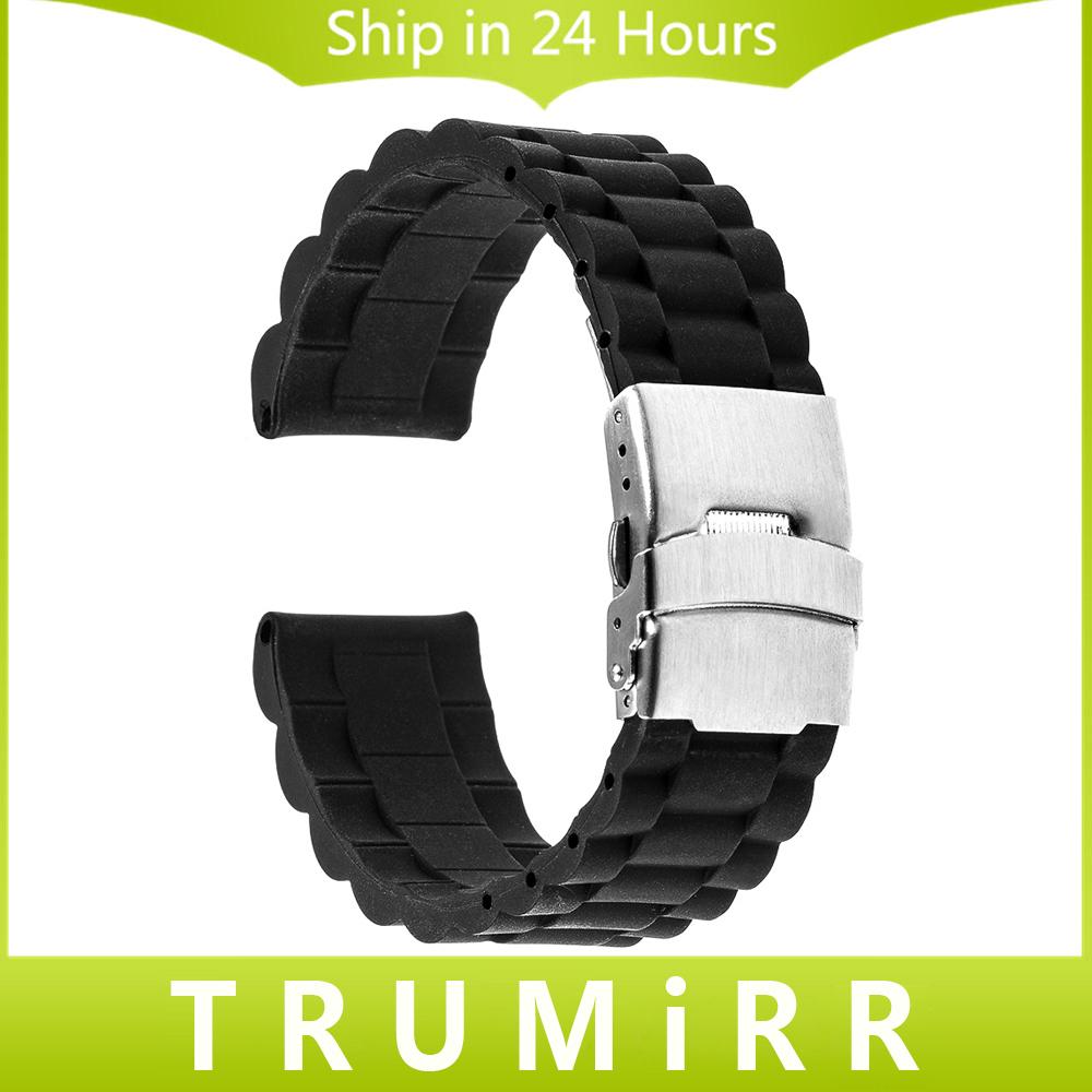 Prix pour 18mm Caoutchouc Bracelet En Silicone pour Huawei Watch/Fit Honor S1 de Sécurité En Acier Inoxydable Boucle Bande Poignet Bracelet Bracelet Noir