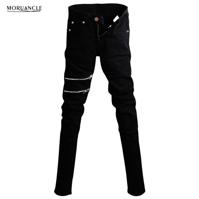 MORUANCLE Punk Style Mens Korean Designer Black Slim Fit Jeans Trousers Punk Cool Super Skinny Pants With Chain For Male punk rave new products elastic coarse slanting stripe punk male trousers slim fit jeans