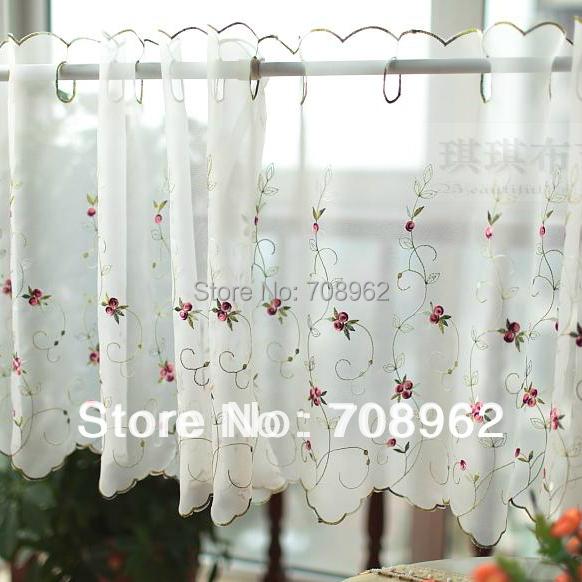 tergal hilo pequeas rosas bordadas ventana floral cortina de la cocina de