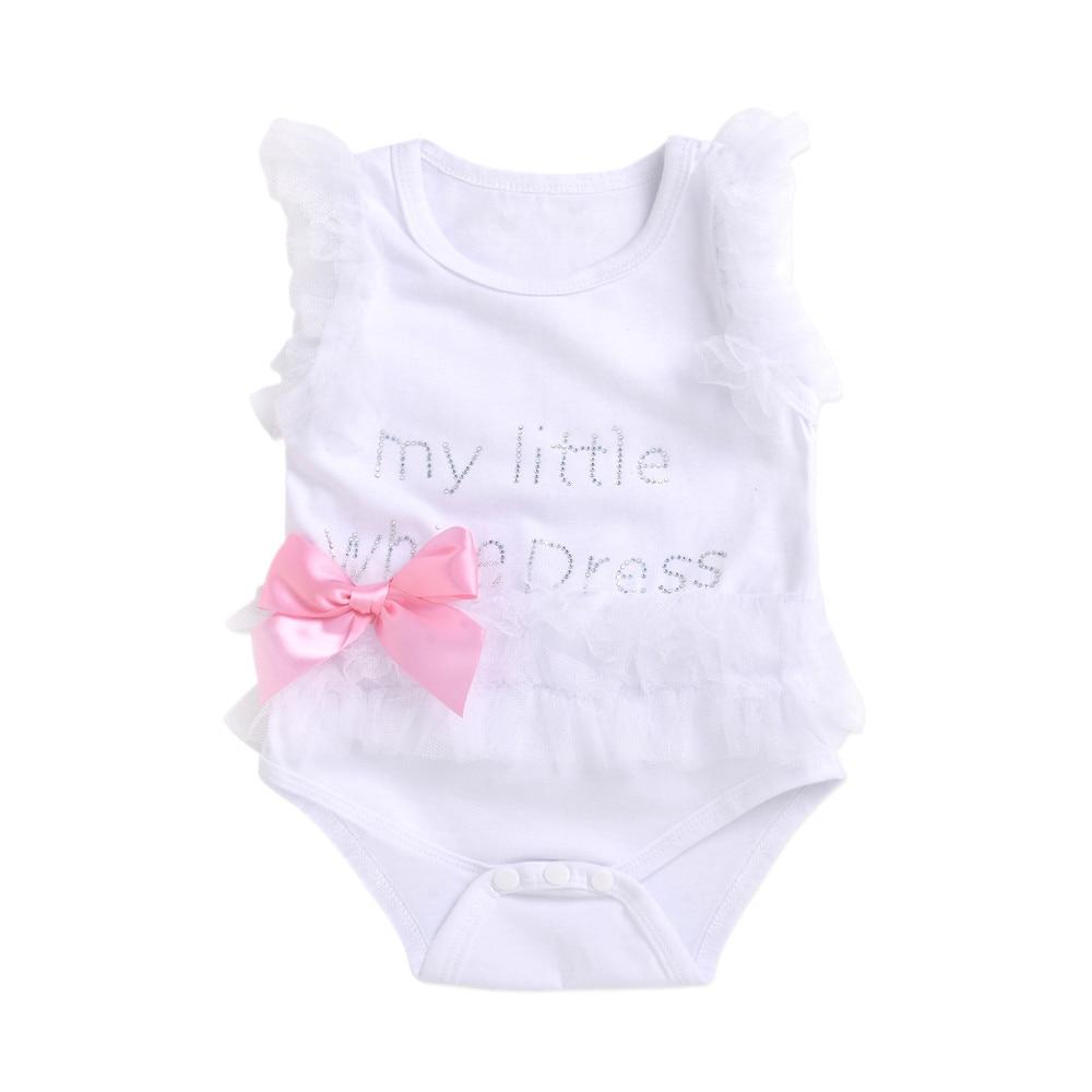 Newborn Baby Girls Bodysuit Embroidered Lace Little Black Letter Print Bodysuit