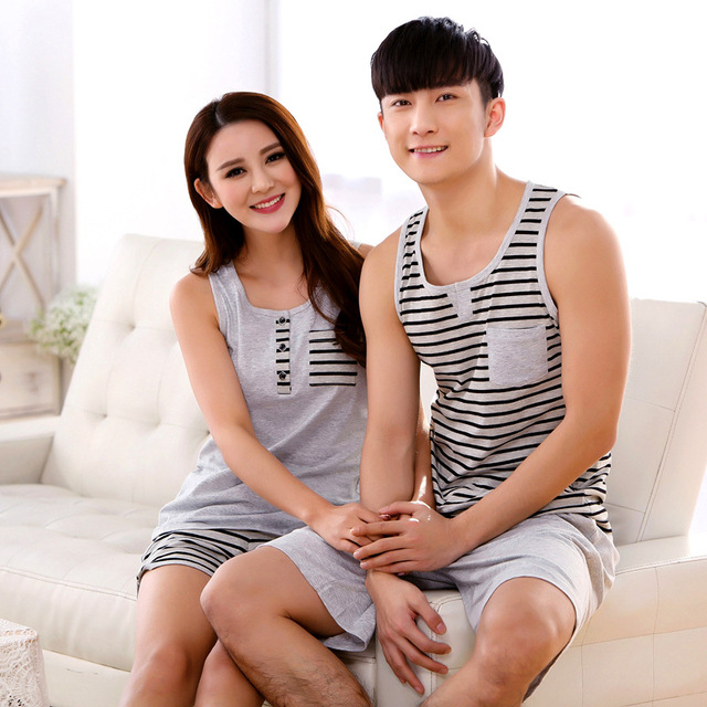 New Summer Striped Lovers Cute Women Men  sleeveless 2 PCS Pajama Sets Knitted Cotton Casual Clothes Sleepwear for couple