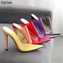 13cm High Heels Sandals Fashion Candy Color Transparent Woman 2019 Summer Party Shoes Ladies