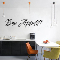 Bon Appetit Art Words Vinyl Wallpaper On The Wall Waterproof Removable Home Decor Wall Sticker For