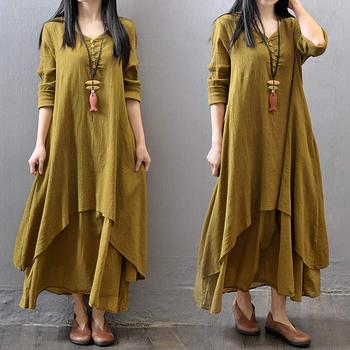 3xl 4xl 5xl Lỏng Cotton Linen Maxi Dress Thêm Kích Thước hít thở Tự Do O-Cổ Dài Tay Dresses Boho Casual Rắn Irregular Robe