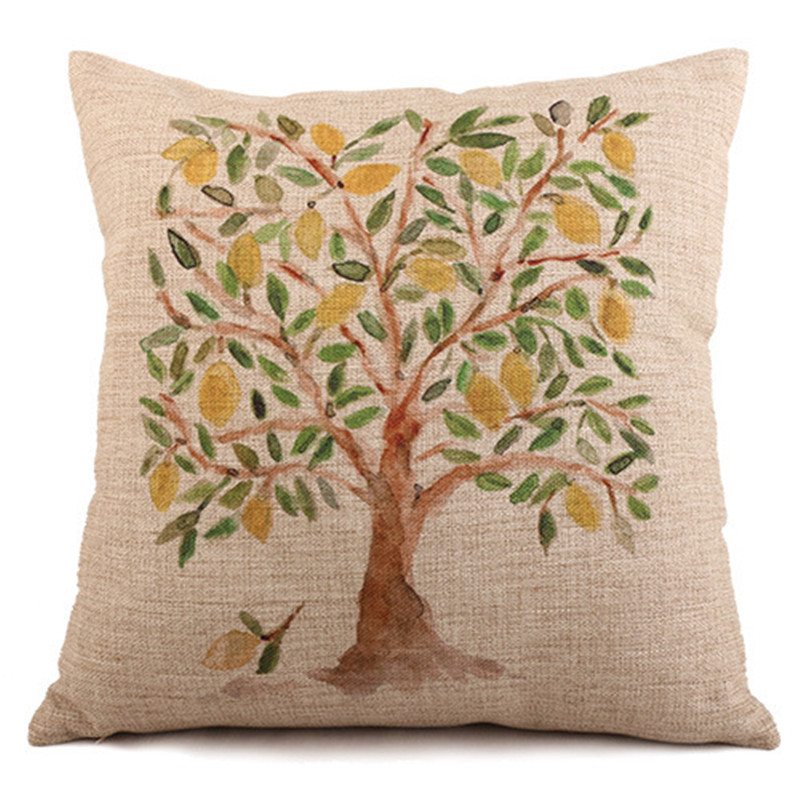 Western Style Home Decorative Cotton Linen Cushion Flower Print Sofa Throw Pillowcase Square Almofadas