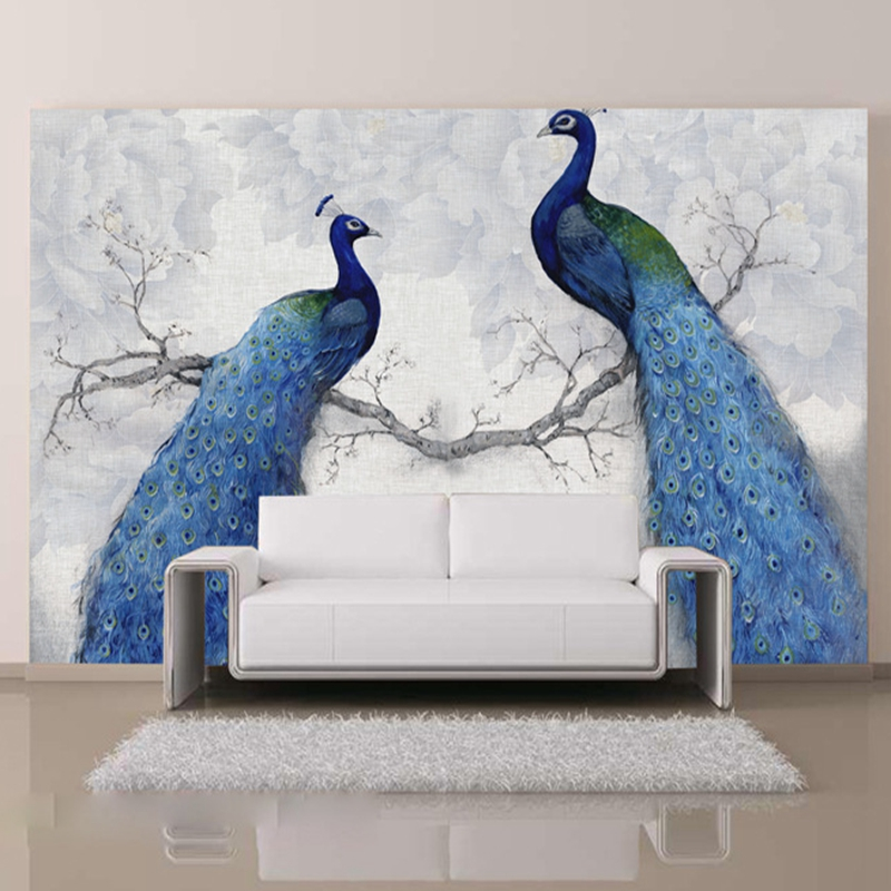 3D photo wallpapers modern art painting Chinese living room bedroom TV backdrop bird Peacock Magnolia large mural wallpaper stone vine leaves mountain large mural 3d wallpaper tv backdrop living room bedroom wall painting three dimensional 3d wallpaper