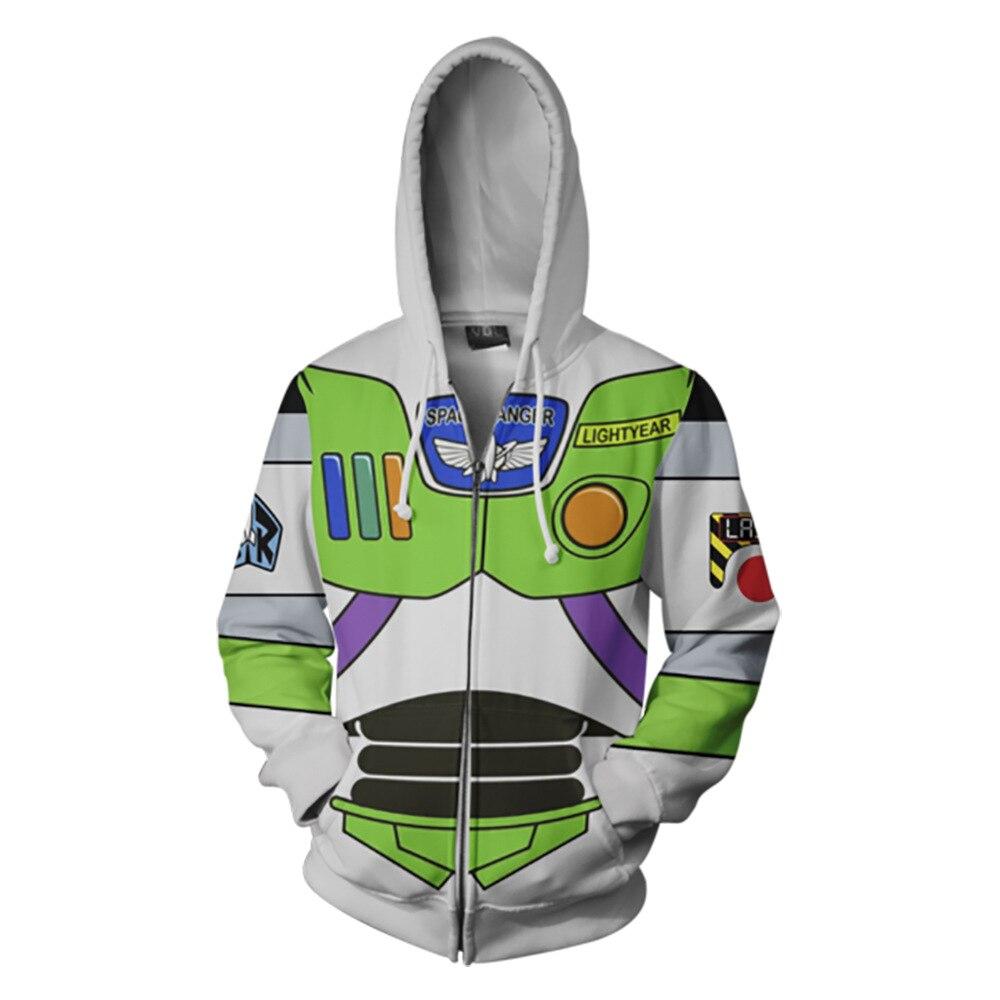 2018 new Autumn Winter 3D print Buzz Lightyear Sweatshirts Hoodies Fashion Cosplay Zipper hooded  Jacket clothing