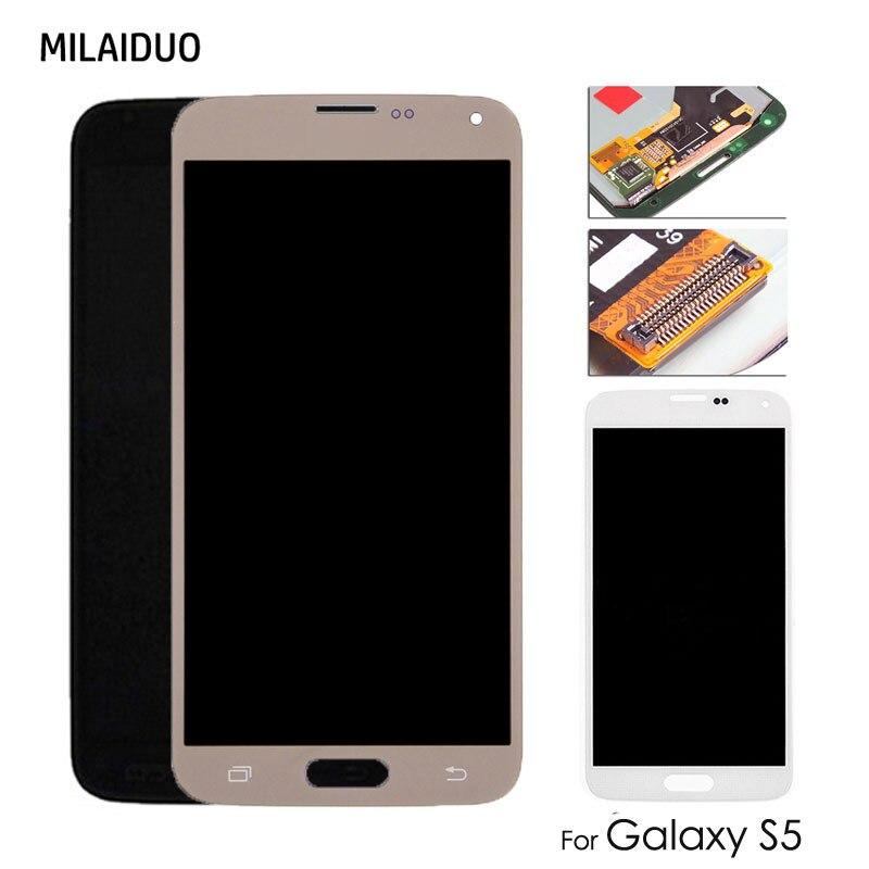 Amoled/tft lcd para samsung galaxy s5 i9600 g900 g900f lcd display touch screen digitador assembléia substituição ajustável brilhante