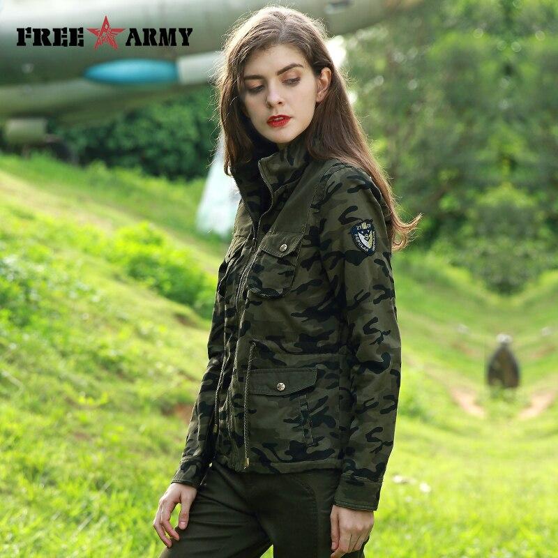 FREEARMY Brand Camo Jacket Waist Drawstring Pockets Style Jacket For Woman Cotton Denim Jacket Female Outerwear & Coats