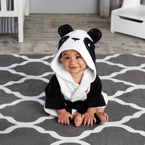 Милый детский банный халат с мышкой пандой, чистый хлопок, купальный Халат с капюшоном, Пляжное банное полотенце, спа-халат с мышкой крысы, пончо для младенцев - Цвет: New Panda