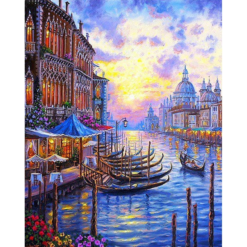 Venice Night Sunset DIY Painting By Numbers Landscape Acrylic Paint On Canvas Hand Painted Wall Pictures for Living Room Decor