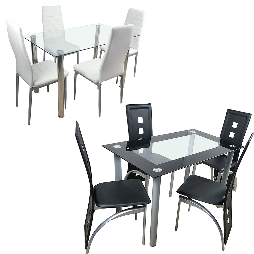US Shipping Dining Table Set Glass Steel W/4 Chairs Kitchen Room Breakfast Furniture Black White