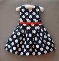 brand new 2016 summer dress dot print baby dress 100% cotton casual pattern girls dresses high street