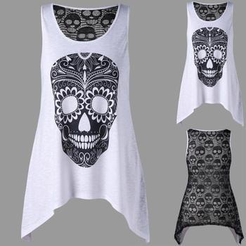 Women's Fashion O-Neck Skull Lace Cotton Sleeveless T-Shirt
