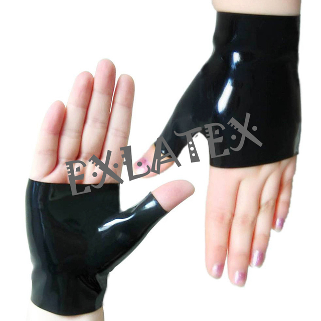 Latex Gloves Unisex Mittens Short Gloves Gauntlets Latex Rubber Mixed Toe Wrist Fingerless Gloves Fetish Costume Female Gloves