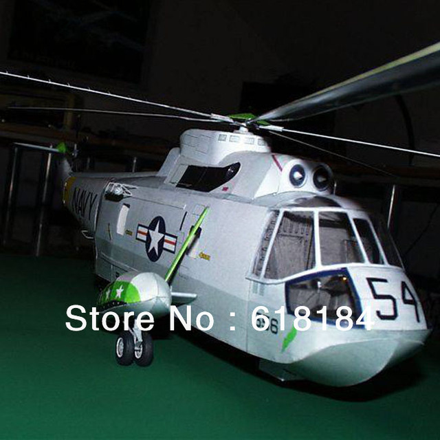 Free shipment diy toy paper model Helicopter 42CM long 1:33 US Sikorsky Sea King helicopter Gunship models 3d puzzles for adult