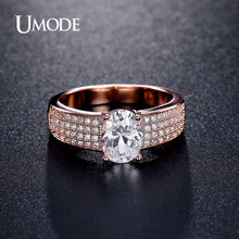 UMODE Brand New Design Fashion Rose Gold Plated Engagement Wedding Ring For Women Crystal Ring Jewelry Bijoux Femme GiftAUR0369C