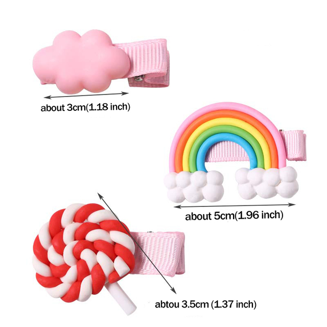 New Girls Cute Colorful Cloud Candy Rainbow Hairpins Children Hair Lovely Clips Barrettes Headband Kids Fashion Hair Accessories