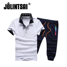 2017 New Summer Style Polo Shirt Sportswear Suit Men Casual Set Tracksuit Solid Stand Collar Short Sleeve Polo Shirt+Shorts 4XL