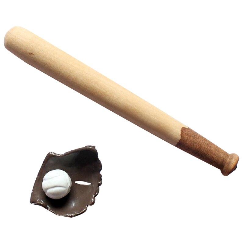 Новый Kacakid 1: 12 DOLLHOUSE реалистичные Мебель мини Бейсбол bat и Перчатки комплект Домашний Декор