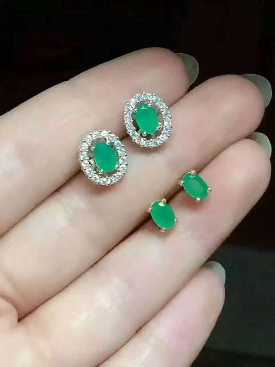 Natural green emerald stud earrings 925 silver natural gemstone earrings two wears women fashion party fine Earrings jewelry copper jewelry leopard head hanging pearl stud earrings tiger head green rhinestone black stud earrings for women