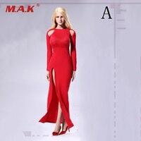 Biały Czarny Czerwony Niebieski Fioletowy 1/6 Skala Kobiet Wieczorne Party sukienka z Długimi Rękawami Modele dla 12 Cali Kobiet Figury Bodie