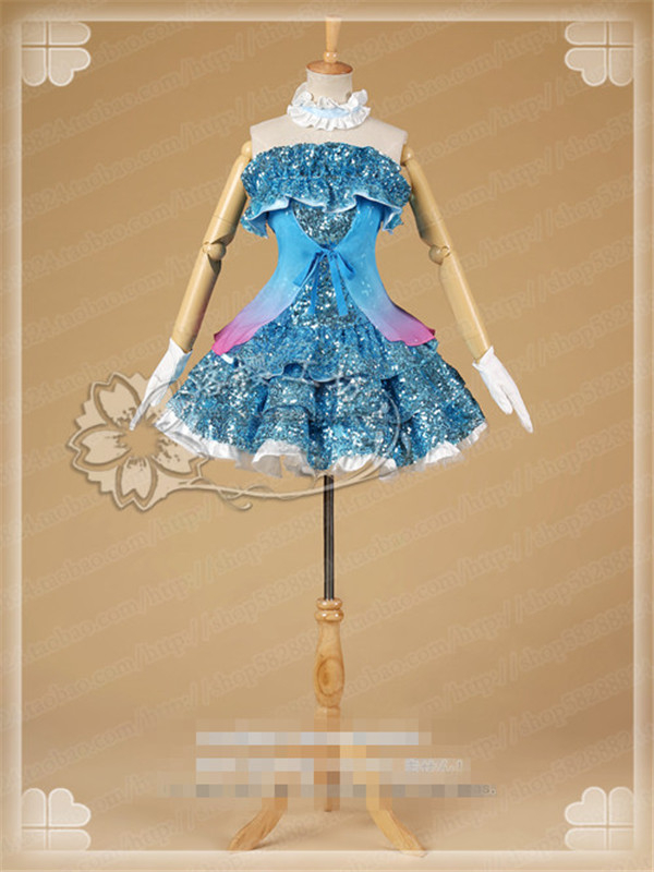 Anime Cosplay Costume Love Live Nishikino Maki Blue Sexy tube top dress gorgeous and lovely Style Free Shipping B