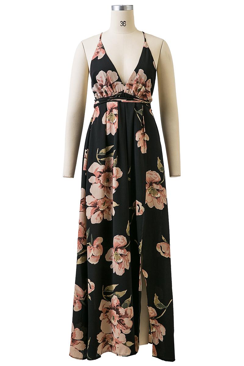 BONGOR LUSS Summer Maxi Dress Women Floral Print Dress V-Neck Sleeveless Spaghetti Strap Backless Side Split Sexy Long Dress (12)