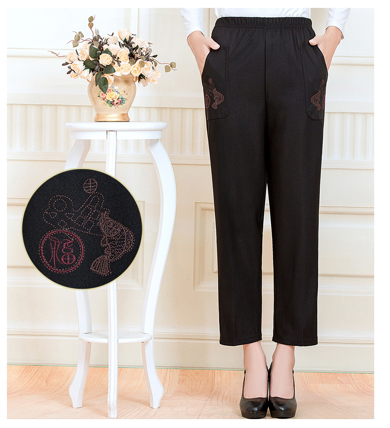 WAEOLSA Chinese Middle Aged Woman Black Pant Autumn Elderly Women Embroidery Trouser Mother Casual Pant 40S 50S 60S (8)