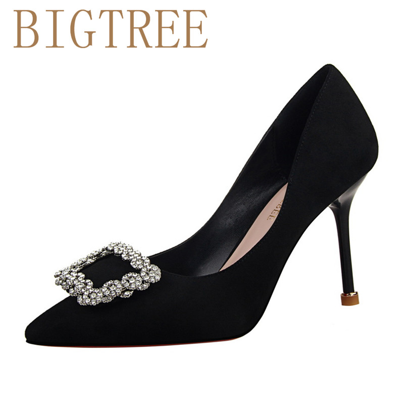 BIGTREE Spring Autumn Shallow mouth Suede women pumps Was thin pedicure Pointed Buckle Rhinestones 9 CM Fine high heels shoes bigtree spring autumn silk women pumps shallow mouth pointed shiny rhinestones 10 5 cm fine high heels shoes