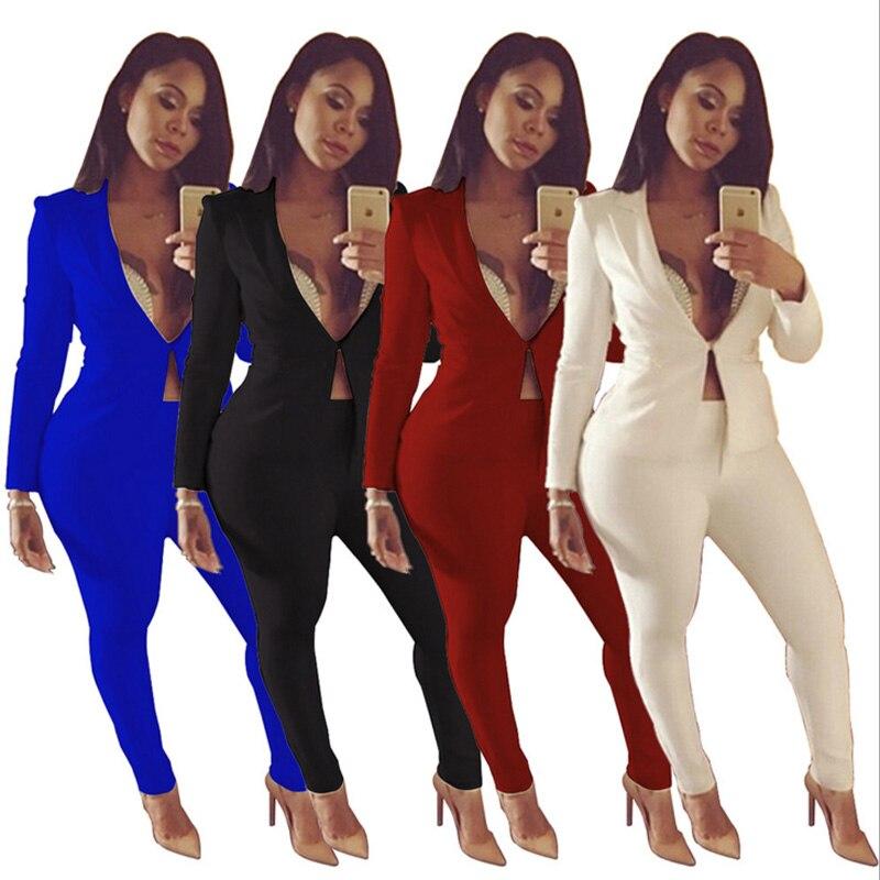 43ad9e9b7 ... Plus redwine Mujeres Oficina Las Tamaño Para white Negro Blanco Sexy  Unidades Larga Royalblue Chaquetas Pantalón ...