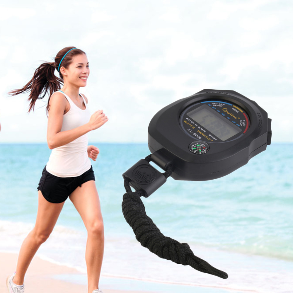 Waterproof Portable ABS Plastic Digital LCD Sports Stopwatch Chronograph Professional Timer Counter Sports Alarm
