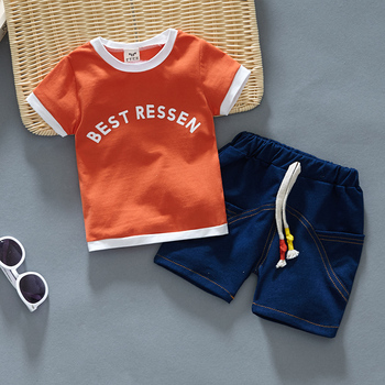 Newborn Baby Boy White Shirt And Blue Short 2Pcs Clothing Set 1