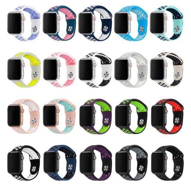 Силиконовые замена спортивный ремешок для наручных часов Apple Watch 38 мм 40 мм 42 44 мм браслетный ремешок для часов для наручных часов iWatch серии 4/3/2/1 81010