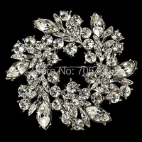 Vintage Silver 2 Inch Clear Rhinestone Diamante Crystal Wreath Party Brooch