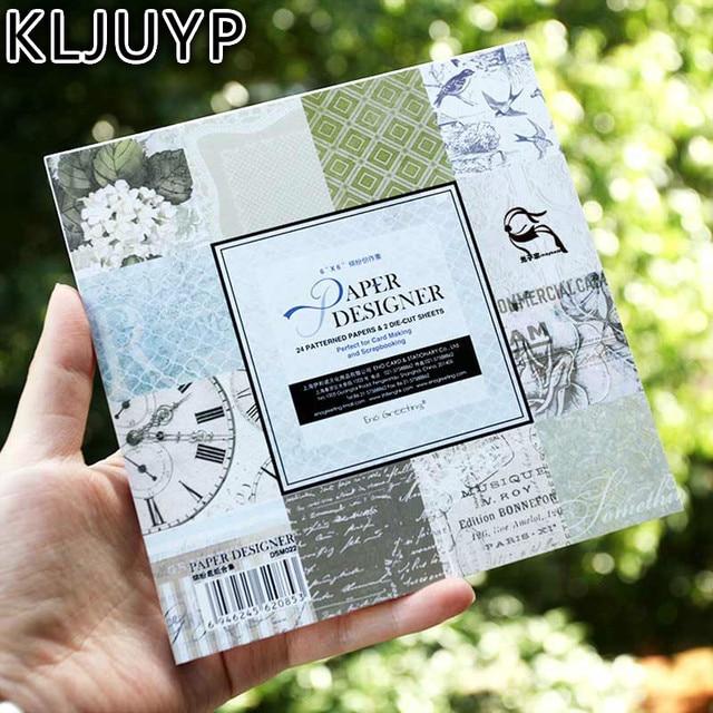 KLJUYP 6''Single 사이드 인쇄 시계 꽃 패턴 장식 스크랩북 종이 24 세트 시트 인쇄 배경 공예 종이