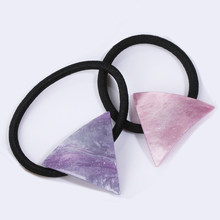Girl Simple Star Triangle hair rope Acrylic Geometric Triangle Head Bands Hair Ring Elastic Head Rope For Women hair Accessories(China)